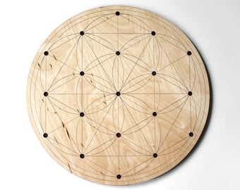 "10"" / 12"" / 14"" / 16"" Large Seed of Life Crystal Grid - Flower of Life Birch Wood Altar Board - Sacred Geometry Path"