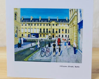 Milsom Street, Bath. Greeting card, quality reproduction of an original painting, (Free Post anywhere in the UK).