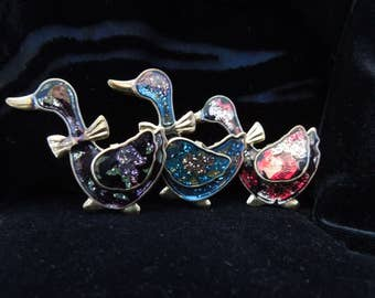 brooches vintage glitter goose trio