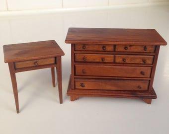 Dollhouse wooden bureau and night table