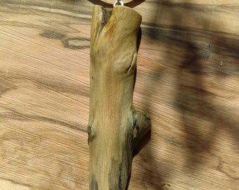 Driftwood pendant on natural leather cord
