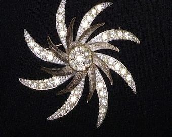 Rhinestone Brooch/Silver Tone and Rhinestone Pin/Crystal Pin/Coctail Rhinestone Brooch/Vintage Silver Pin/Bridal Pin/Gift for Her/Nr.004