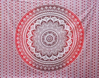 Red flower mandala tapestry, wall hanging, bedspread. Psychedelic hippie. boho. Home decor