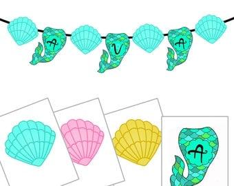 Mermaid printable banner download A-Z