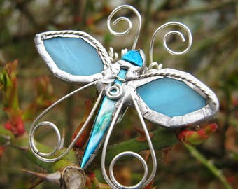 Brooch Butterfly, Handmade, Tiffany tecnique, Stained glass, turquoise Glass, Silverplated Wire