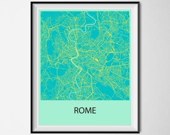 Rome Map Poster Print - Blue and Yellow