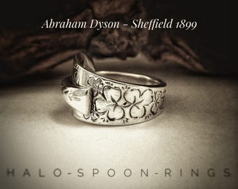 Very Pretty Victorian Sterling Silver Spoon Ring with Shamrock  Detail by Abraham Dyson Hallmarked Sheffield 1899