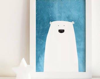 Polar bear print, polar bear kids art, polar bear nursery wall art, zoo animal nursery, blue nursery art, animal prints, kids decor
