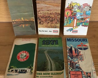 Vintage road maps lot of 6