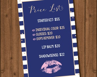 LipSense by Sengage Price List 4x6 Navy Gold Light Pink