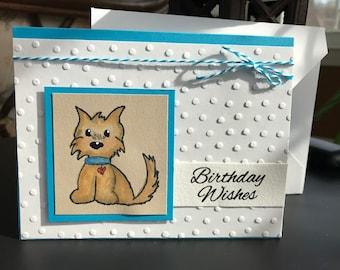 Birthday Wishes Card, Happy Birthday Card, Dog Birthday Card, Whimsical Birthday Card, Child's Birthday Card, Pet Lover's Birthday Card