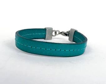 "113-X1 ""Stitched Turquoise Leather Bracelet"""