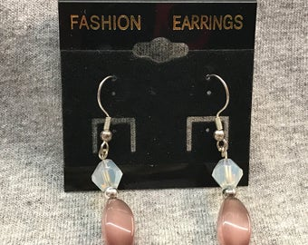Rose pink dangle earrings