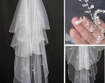 Ivory or white 2 tier pearl beaded veil