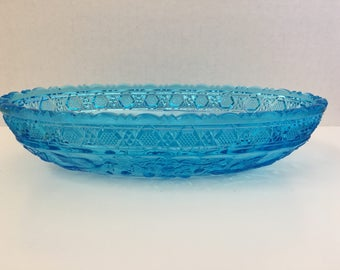 Tiara Blue Glass relish dish