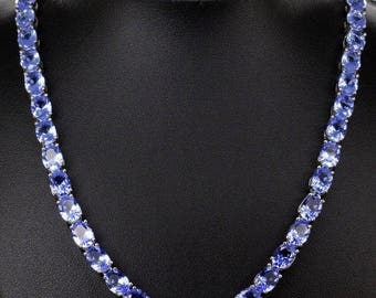 24hr Sale 39ct Tanzanite Tennis Necklace, Silver, Free Shipping