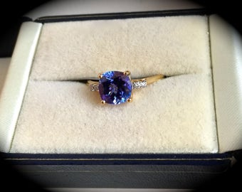 "Bespoke Tanzanite & Diamond Ring 14ct yellow Gold ""Certified AA, 1.96ct"" Exquisite Colour!"