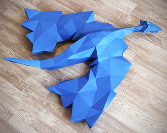 Dragon Papercraft, , PDF template and instructions, Game of Thrones, Gifts for Kids, Gifts for Children, Mythical Creature, Dragon, Low Poly
