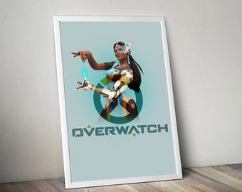 Overwatch SYMMETRA Poster, Game Poster, Flat Print Design, Digital Printable Poster, Blizzard wall art, Instant Download, game art