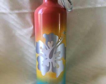 25 Oz Aluminum Water Bottle Custom Painted - Hibiscus