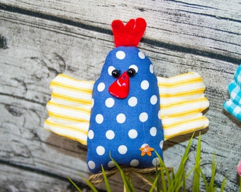 Stuffed Easter Chicken, Stuffed Spring Chicken, Stuffed Chicken Craft, Handmade Easter Chicken, Polka Dot Easter Chick, Colourful Chicken