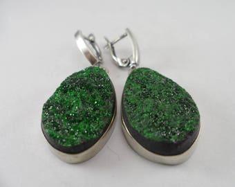 Earrings Uvarovite , Emerald Green Druzy, Green Garnet Earrings, Collector Stone Uvarovite Drusy, ONLY NATURAL STONES