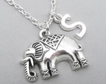 Indian elephant monogram necklace | elephant charm necklace | elephant pendant | personalised elephant necklace | elephant jewelry