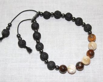 Handmade lava stone, hematite, semiprecious bracelet