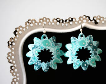 Aqua Flower Dangle Earrings - Medium
