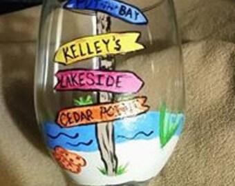 Lake themed wine glass