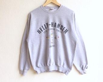 Vintage 90's HELLY-HANSEN big logo sweatshirt gray colour large size