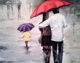Oil painting romantic decor. Two under an umbrella oil painting. Art wall painting.