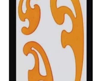 Set of 3 french curve plastic stencils, drawing stencil, cutting stencil