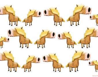 Shetland Ponies wall decor for kids art illustration print shetland pony