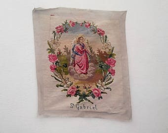 Canvas/old embroidery of St Gabriel. Face and hand velvet. France 1970