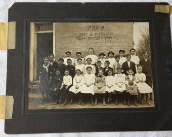"Antique Photo Class of 1909 District #8 School Town of Clifton Park NY 5"" x 7"""