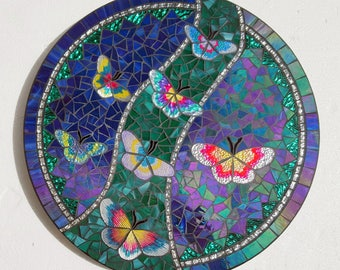 Butterfly Stained Glass Mosaic Lazy Susan