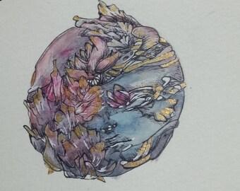 Overgrown Blue - Original Watercolor Painting