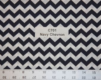 Navy Chevron Cotton Fabric  SHIPS FAST Chevron Cotton fabric for quilting sewing crafts clothing fabric store free shipping available