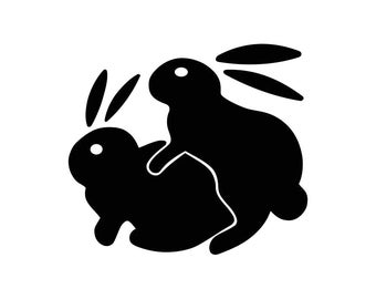 Humping Bunnies Funny Graphics SVG Dxf EPS Png Cdr Ai Pdf Vector Art Clipart instant download Digital Cut Print File Cricut Silhouette