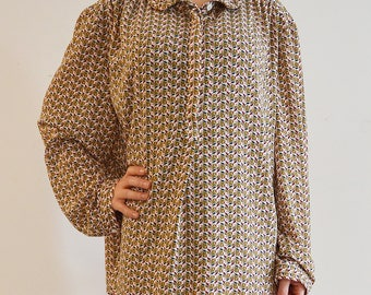 Vintage 90s pattern shirt Wide sleeves oversize Loose Top Long Sleeve plus size