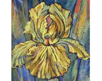 Pastel, iris, yellow flowers,  yellow  iris modern painting,modern author's painting,decoration of an interior,21x21cm Razumeyko Catherine
