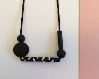 Black geo necklace
