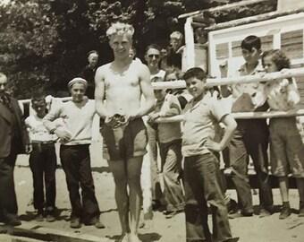 Summer Beach Photo, Summer Camp Kids Black White Photo Vintage 1940s Paper Altered Art Supply Ephemera Snapshot Old Photo Collectibles #06