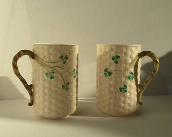 Vintage Belleek Pottery Shamrock Irish Coffee Cup