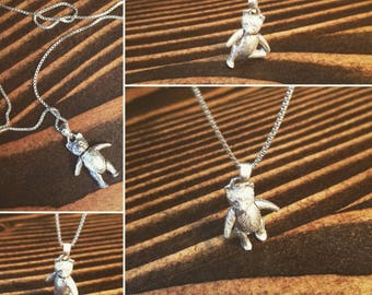Moveable Sterling Teddy Bear necklace