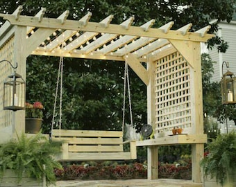Pergola with swing and lattice sides w/ optional planter boxes