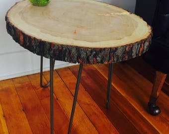 Modern Live Edge Urban Maple Accent Table // End Table // Side Table // Rustic // Reclaimed
