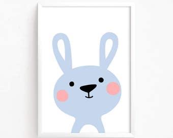 Sale 50% Off - Cute Bunny Poster Printable Art Baby Boys Girls Animal Illustration Kawaii Kids Room Print Nursery Wall Art Instant Download
