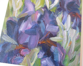Original oil painting Blue Iris Original painting Small oil painting wall art wall decor oil miniature still life affordable art